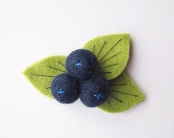 Blueberry Rifle Paper Co Inspired Felt Flower Headband or Hair Clip