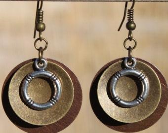 Boho Earrings Bohemian Earrings Mixed Metal Dangle Earrings Jewelry Copper Earrings Brass Earrings Jewelry Gift Ideas Gift for her