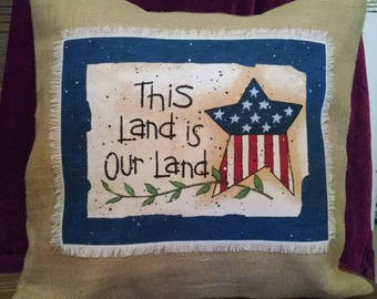 "Americana 16""x16"" This Land is Our Land! Natural Burlap Pillow Cover"