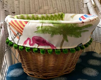 Wicker Bicycle Basket with Liner - Greenery Pompoms