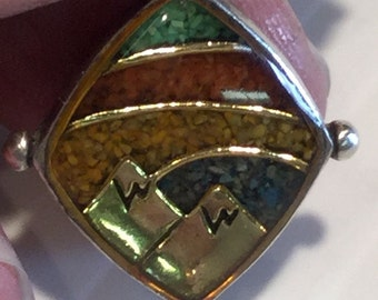 Carolyn Pollack Relios Mosaic Crushed Stone Mountains Sterling Pendant