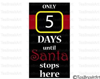 Christmas countdown Digital Cutting Files SVG PNG EPS jpg Instant Download iron on heat transfer decal christmas design Santa Klaus 661C