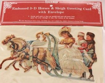 Vintage 1985 Sealed Shackman Embossed 3-D Horse & Sleigh Greeting Card with Envelope.