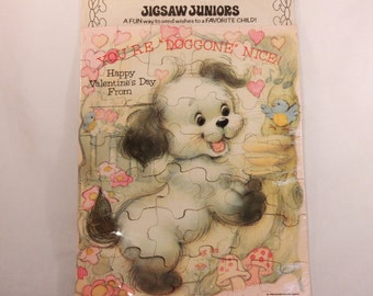"""Vintage 1980 Sealed American Greetings Puppy Puzzle Greeting Card. 8"""" by 10"""""""