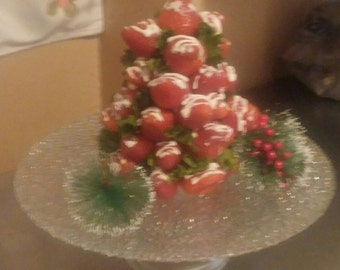 Vegan chocolate covered strawberry Christmas tree center piece.