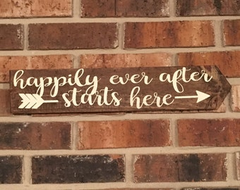 happily ever after starts here wedding / reception stained wood sign