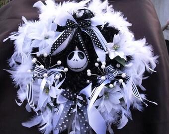 "Nightmare Before Christmas Wreath in black white Jack Skellington Wreath Halloween Wreath with Jack bauble, berries, white feathers app 14"""