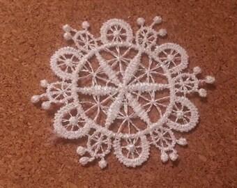 CraftbuddyUS LM3 - 10 WHITE Vintage LACE Crochet Sew On Fabric Flower Motifs, Patches GUIPURE