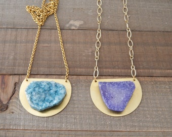Purple druzy with brass pendant and chain, bohemian jewelry, rustic, organic jewelry, handmade necklace, druzy quartz