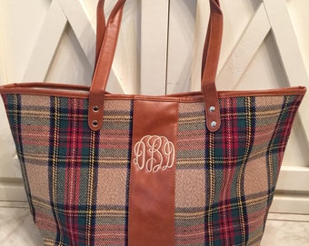 Monogram Plaid tote/handbag