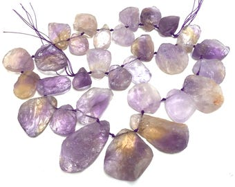 """Ametrine raw hammer faceted nuggets top side drilled natural crystal quartz beads 16"""" strand"""