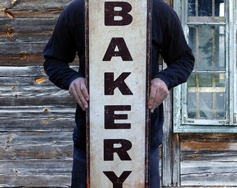 "Handcrafted Vintage Bakery Sign Steel Sign (36""x10"") PSS00030 Antique Bakery Home Decor Gift Mom's Kitchen Retro Bakery Tin Sign"