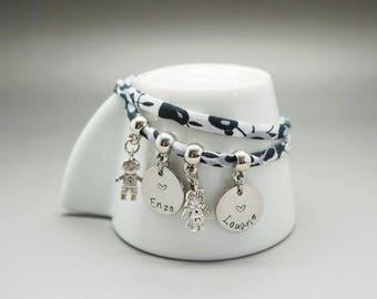 bracelet liberty garçon fille - médaille gravé enfant maman - bracelet maman - mom gift -