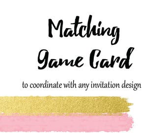 Add On - Matching GAME CARD for any invitation - Printable
