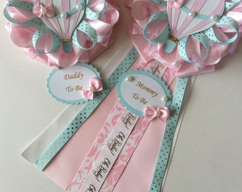 Hot air balloon baby shower corsage set/Mommy to Be and Daddy to be corsage set for hot air balloon girl baby shower