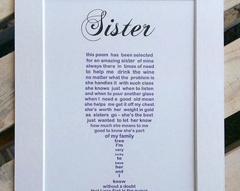 Gifts for Sister, Sister Birthday, Personalized Sister Gifts, Personalised Wine Glass Poem, 30th Birthday Gift, 40th Birthday Gift