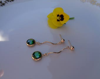 Gold Earrings, 585 gold filled with sparkling zircon in green, great design!