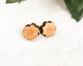 Earrings studs wood flowers bamboo plywood and hypoallergenic surgical steel stud backing with butterfly clasp