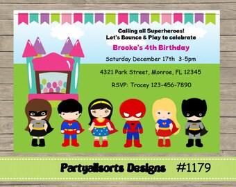 DIY - Superhero/ Bounce House/Bounce and play Invitations