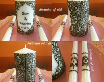 Handcrafted Henna Unity Candle Set / Wedding Candle Set / Henna Candles / Decorative Candles / Designer Candles