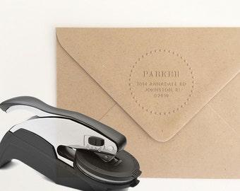 Round Address Embosser Stamp, Address Embossing Stamp, Return Address Embossing Seal, Holiday Card Seal, Housewarming Gift (EADDR111)