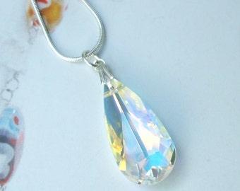 AB Swarovski Crystal Necklace, Sterling Silver crystal pendant Necklace, clear AB Swarovski crystal teardrop necklace Swarovski Jewelry gift