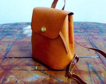 Backpack / Tan / Handmade Leather