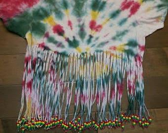 One Love Tie Dye Fringe Kandi Top