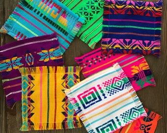 Mexican cocktail napkins, bulk set of 6. Assorted colors, Fiesta decor, woven napkins, boho chic linens, hippie decor, hostess tribal gift
