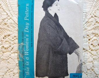 Vintage 1950's Women's Day Sewing Pattern for Fur Swing Coat Jacket