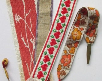 Four Vintage  fabric book marks.