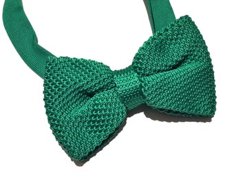 Green Knitted Bow tie, Mens Bow Tie, Pre-tied bow tie, Adjustable Bow Tie, Double Bow Tie