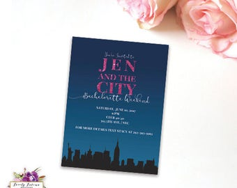 Sex and the City - Bachelorette Party Weekend  - City Skyline - NYC, LA, Las Vegas - Multiple Skylines - Pink and Blue - Digital Invitation