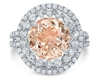 4.65 Ct. Round Morganite Double Diamond Halo Engagement Ring on 14K White Gold