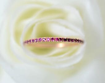 0.30+ Ct. Round Cut Ruby Micro Pave Stacking, Eternity Band on Rose, White or Yellow Gold