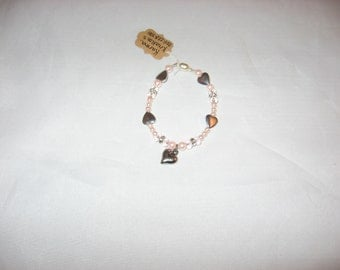"""7"""" Silver Heart Bracelet with Pink Pearls, Silver Heart, Crystal and Pink Beads"""