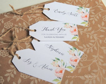 Peony Gift Tag Template, Printable All Purpose Floral Wedding Thank You Tag, Name Tag, Favor Tag, Emblem, Rustic DIY PDF Download #104