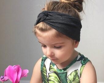 Baby turban head wrap / dark grey headband / toddler turban headband / jersey headband / baby turban / kids head wrap