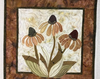Quilted handcrafted wall hanging quilt art Copper colored cone flowers wallhanging finished #89