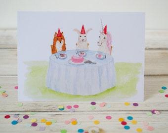 Tea Party Birthday Greeting Card