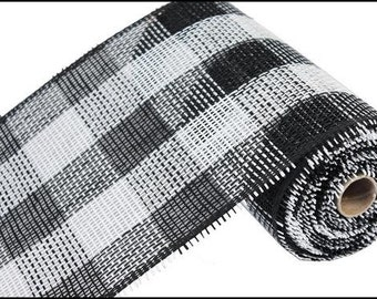 "10""X10yd Black/White Woven Check Paper Mesh/Wreath Supplies/Paper Mesh/RR800240"