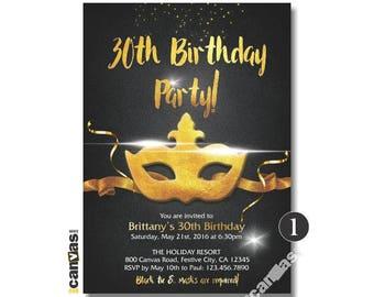 MASQUERADE Party Invitation, Masquerade Theme Invitations. Mardi Gras Mask. Mardi Gras Invitation. Mardi Gras Birthday, Black Gold Foil 461