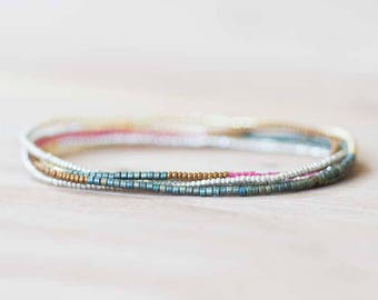 Elastic Multi Wrap Bracelet, Long Seed Bead Necklace, Delicate Beaded Boho Jewelry, Long Beaded Necklace, Charlotte Cut Seed Bead Jewelry