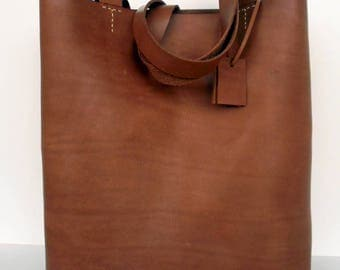 Brown Leather Tote Bag -  Leather Bag -  Brown Leather Bag