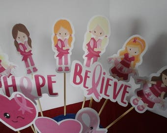 Cancer Awareness  Cake Toppers, Cancer Awareness Cupcake Toppers,  Breast cancer decorations, Set of 12...