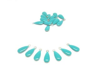 20 sequins form drop green Turquoise Emailles