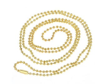 12 media necklaces chain 1.5 mm Golden Ball