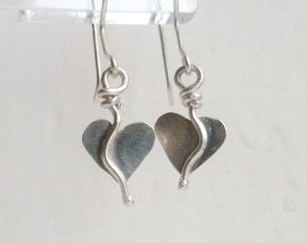 Sterling Silver Heart Earrings, Heart Earrings, Romantic Heart Drop Earrings, Organic, Heart Earrings, Valentines gift. Boho Earrings.