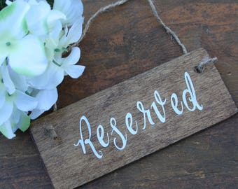 Reserved sign, Wedding reserved sign, Rustic reserved sign, Chair sign, Row sign, Rustic Wedding signs, Reserved row hanging sign