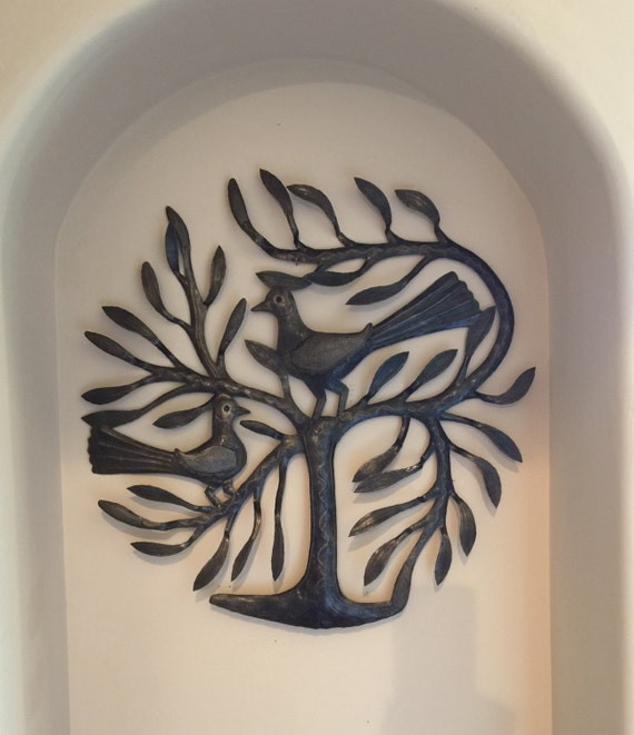 "Winged Birds Tree of Life, Haitian Metal Wall Art from Recycled Steel Oil Barrels  22"" x 22"""